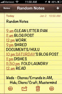 I like lists.  I got most of this stuff done today too.  Bow before my productivity!