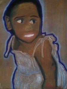 I drew this my junior year in HS from a photo of myself at about age two. Look how Black I was as a child.  The jacked up facial features were due to my subconscious mind's continuous attempt to process my non-Black-multi-racial heritage and had nothing to do with my lack of skill with chalk pastels.